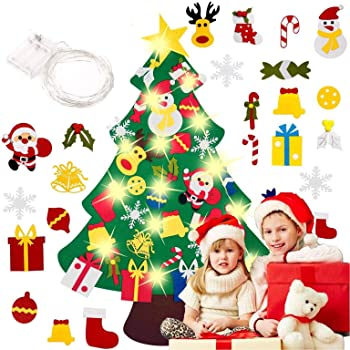 MEIRUIER Árbol de Navidad de Fieltro, Árbol Navidad Fieltro Pared con Ornamentos Desmontables El árbol de Navidad de 3.7ft para Regalos navideños, Decoración de Navidad para Paredes y Puertas del