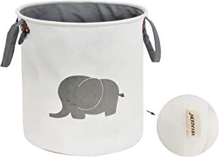 HIYAGON Storage Baskets,Cotton Foldable Round Home Organizer Bin for Baby Nursery,Toys,Laundry,Baby Clothing,Gift Baskets(Elephant)