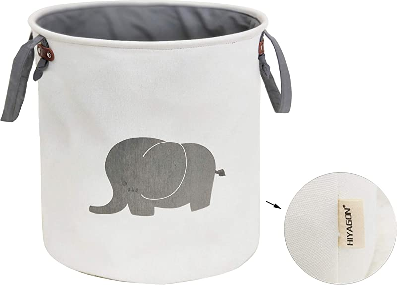 HIYAGON Storage Baskets Cotton Foldable Round Home Organizer Bin For Baby Nursery Toys Laundry Baby Clothing Gift Baskets Elephant