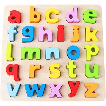 Wooden ABC Letters Colorful Educational Puzzle Toy Board for Toddlers /& Kids 5 x 2 Hape Alphabet Blocks Learning Puzzle Multi-Colored Jigsaw Blocks
