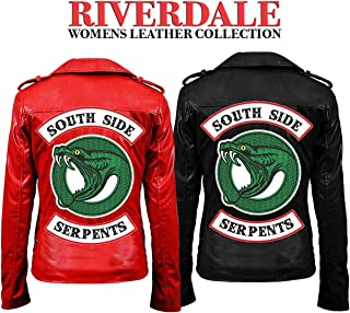 Aus Eshop Womens Southside Serpents Riverdale Cheryl Blossom Red Black Biker Leather Jacket
