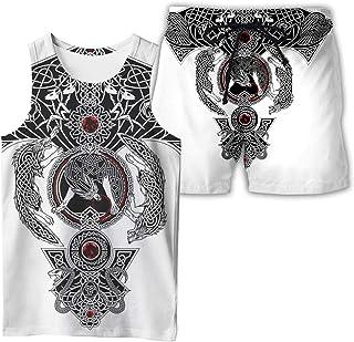Men's Vest with Short Set,Summer 3D Digital Printed Odin Runes Symbol T-Shirt with Short Sleeve Beach Shorts Set,Wolf,5XL