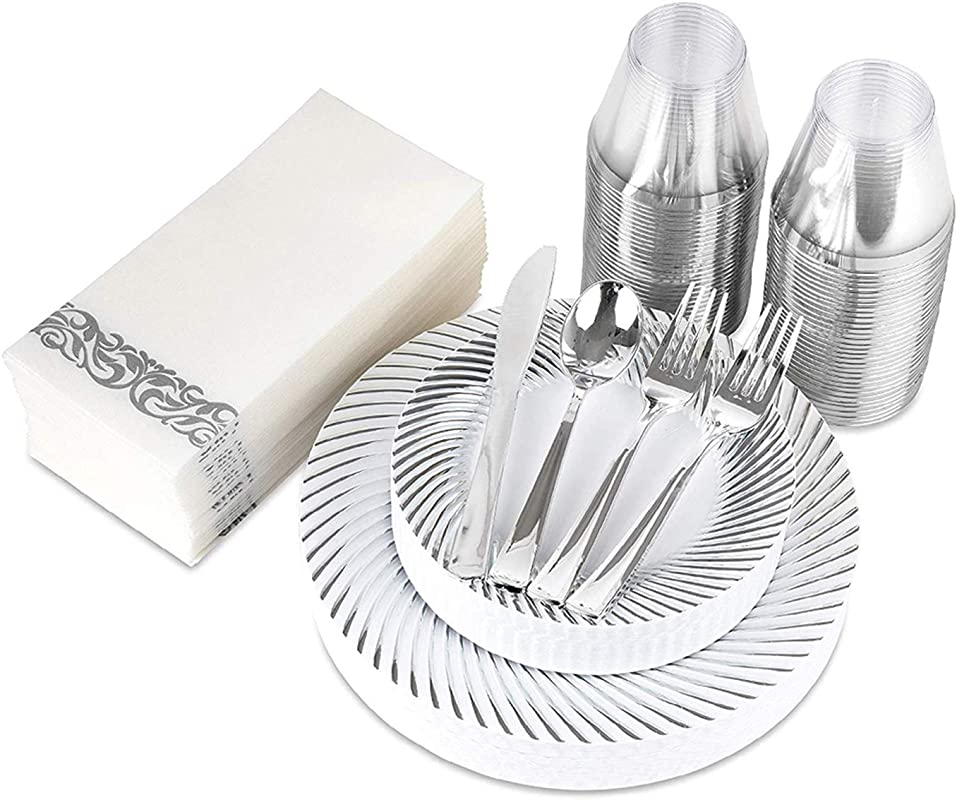 200 Piece Disposable Dinnerware Set 25 Dinner Plates 25 Dessert Plates 25 9 Ounce Cups 50 Forks 25 Spoons 25 Knives And 25 Guest Towels Silver Swirl