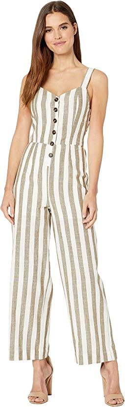 Striped Jumpsuit with Back Tie Detail