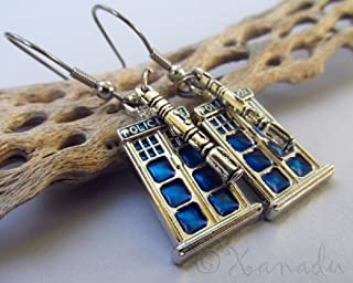 Doctor Who Sonic Screwdriver And Tardis Police Box Stainless Steel Earrings by OutletBestSelling