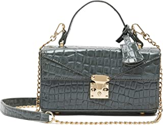 Shoexpress Womens Textured Satchel Bag With Detachable Chain Strap And Flap Closure