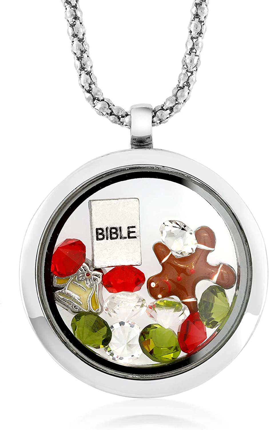 Gem Stone King Multi-Colored Cheap super special price Crystals Bible Locket Pe with Ranking TOP18 Charm