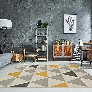 The Rug House Milan Ocre Amarillo Mostaza Gris Beige con triángulos arlequín Tradicional Alfombra de salón 160cm x 230cm