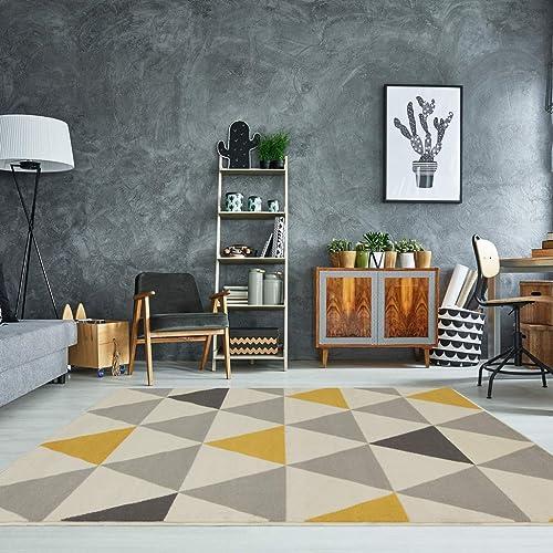 Milan Ochre Mustard Yellow Grey Beige Harlequin Triangles Traditional Living Room Rug 160cm x 230cm