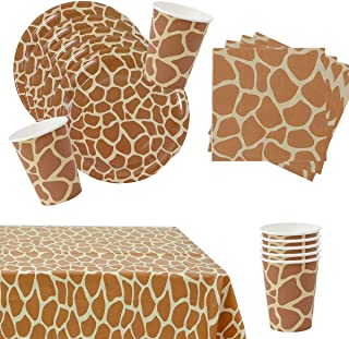 Giraffe Themed Party Supplies for 16 guests, Giraffe pattern tableware, Giraffe Plates, Cups, Napkins and Tablecloth