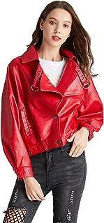 LY VAREY LIN Women's Faux Leather Jacket Red Moto Biker Loose Fit Short Coat Jackets