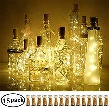 Decem Wine Bottle Cork Lights, 15 Pack 10 LED Warm White Cork Shape Silver Copper Wire LED Starry Fairy Mini String Lights for DIY/Decor/Party/Wedding/Christmas/Halloween (Warm White)