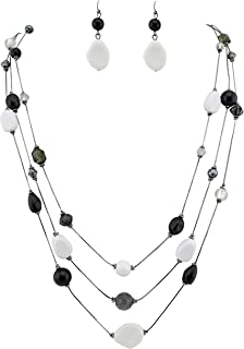 COIRIS 3 Layers Illusion Wire Long Statement Necklace for Women Blue Green Beaded (N0008) (N0008-black+White)