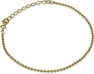 Romantico Casanova New Yorker Bead Chain Cavigliera (Placcato Oro) 2 mm Donna in Argento 925 - Made in Italy - BEAD CHAIN ...