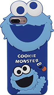 iPhone 7 Plus Case, MC Fashion Cute 3D Cartoon Sesame Street Shockproof and Protective Soft Silicone Case Cover for Apple iPhone 6 Plus/ 6s Plus/ 7 Plus/ 8 Plus 5.5-Inch (Blue/Cookie Monster)
