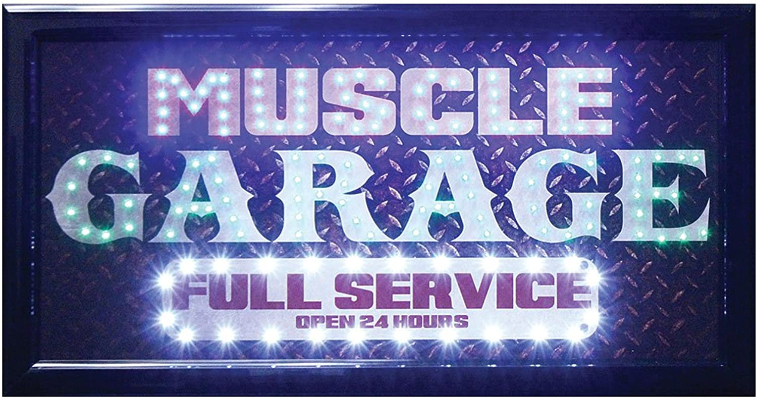 Muscle Garage Full Service Flashing LED Lighted Hanging Man Cave Wall Sign