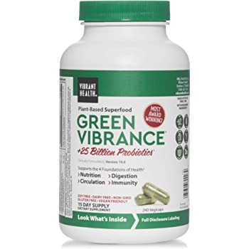 Vibrant Health, Green Vibrance, Vegan Friendly Superfood Capsules with Over 70 Ingredients, Vegan Friendly, 240 Capsules (15 Servings)
