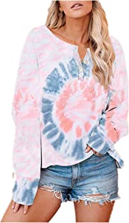 Womens Casual Tie Dye Color Block Printed Crewneck...