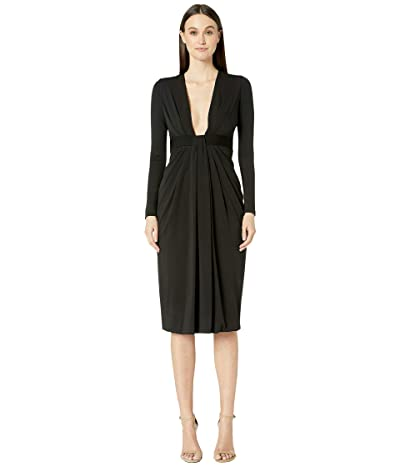 Cushnie Plunging Long Sleeved Dress with Rib Trim at Waist (Black) Women