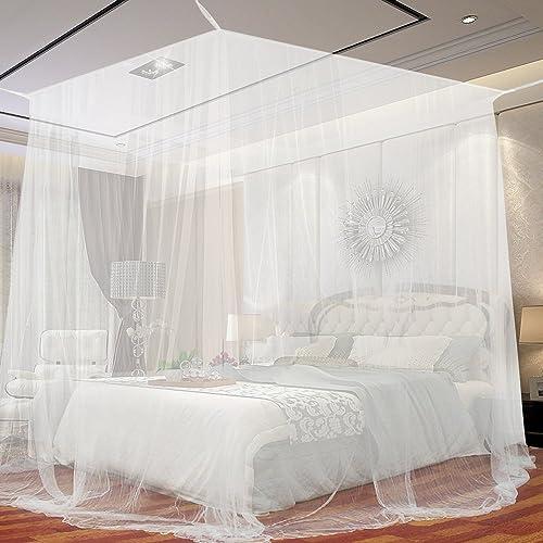 JTDEAL Mosquitera para Cama, 4 Esquinas Adecuado para Cama Individual o Matrimonio Anti mosquitos para