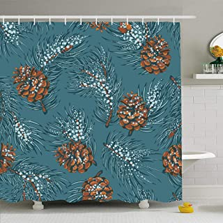 Ahawoso Shower Curtain Set with Hooks 72x78 Green Etching Branch Christmas Frost On Vintage Cone Coniferous December Happy Snow Drawing Drawn Waterproof Polyester Fabric Bath Decor for Bathroom