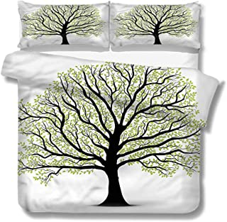Mademai Queen Size Duvet Cover Set Tree of Life,Lush Leaves Artful for Kids/Teens/Adults Hidden Zipper Quilt Cover Printed