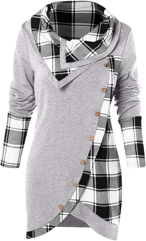 Kanzd Womens Tops Long Sleeve Cowl Neck Blouse Fashion Lapel Button Long Tunic Shirts Pliad Pachwork Tops Sweatshirts