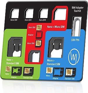Wicked Chili 8in1 Multi Sim-Card Tool voor alle simkaarten, met 3 SIM-adapters, opbergvak voor 3 nano en 1 micro SIM-kaart...