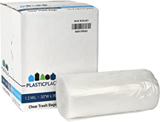 Plasticplace 33 Gallon Trash Bags │ 1.2 Mil │ Clear Heavy Duty Garbage Can Liners │ 33