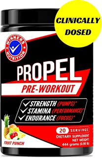 Pre Workout Powder Supplement for Men and Women. Fruit Punch. 40 Scoops. All Natural Nitric Oxide Preworkout Drink Mix to Boost Energy Endurance Strength Stamina. No Creatine