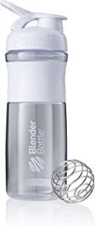 BlenderBottle SportMixer Tritan Grip Shaker Bottle, Clear/White, 28-Ounce