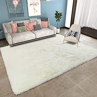 YOH Modern Area Rug Soft Shag Rug Anti-Slip Plush Carpets Home Decor (5'3''x7'5,Cream-White)