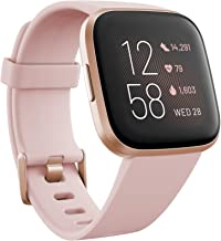 Fitbit Versa 2 (NFC), Health & Fitness Smartwatch with Heart Rate, Music, Sleep & Swim Tracking, One Size (S & L Bands Included), Petal/Copper Rose [Pre-Order]
