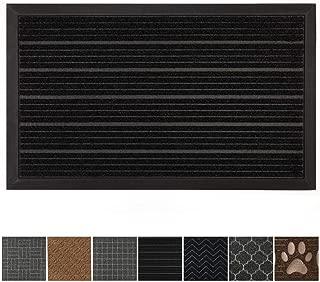 GRIP MASTER Durable All-Natural Tough Rubber Doormats, 29x17 Size, Waterproof Boots Scraper Mats, Commercial Heavy Duty Indoor Outdoor Door Mat, Low-Profile Easy Clean, Black Lines