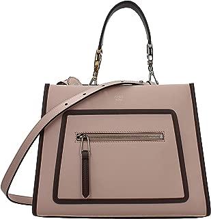 Fendi Shopping Bag Runaway Calf Leather Soap + tan/brown Trim Tote Satchel Bag 8BH344