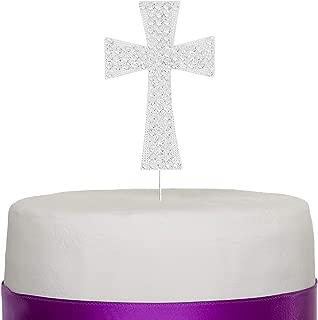 Ella Celebration Cross Cake Topper, First Communion, Religious Baptism, Christening, Child Dedication Keepsake Decoration (Silver)