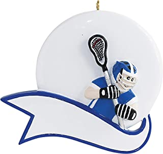 Personalized Lacrosse Ball Christmas Tree Ornament 2019 - Athlete Man Profession Active Boy School Hobby Crosse Catcher Shooter Dated Grand-Son Engraved Year Blue Uniform Male - Free Customization