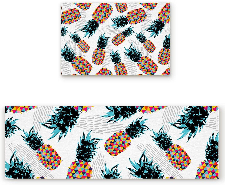 Savannan 2 Piece Non-Slip Kitchen Bathroom Entrance Mat Absorbent Durable Floor Doormat Runner Rug Set - Pineapple