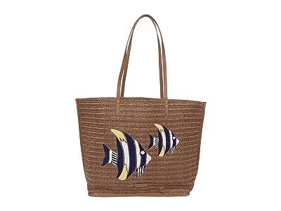 Vera Bradley Straw Tote (Warm Stone Straw) Handbags