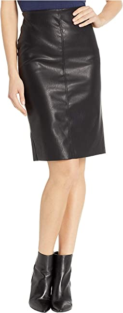 Vegan Leather Pull-On Pencil Skirt in Schooled-Black