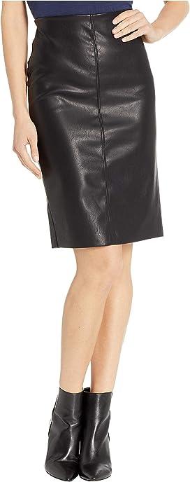 d39ee62099b39 Vegan Leather Pull-On Pencil Skirt in Schooled-Black