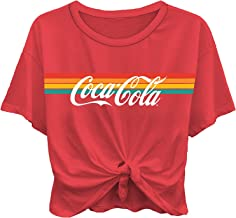 Ladies Coca Cola Fashion Shirt - Coke Classic Logo Tie Front Short Sleeve Tee