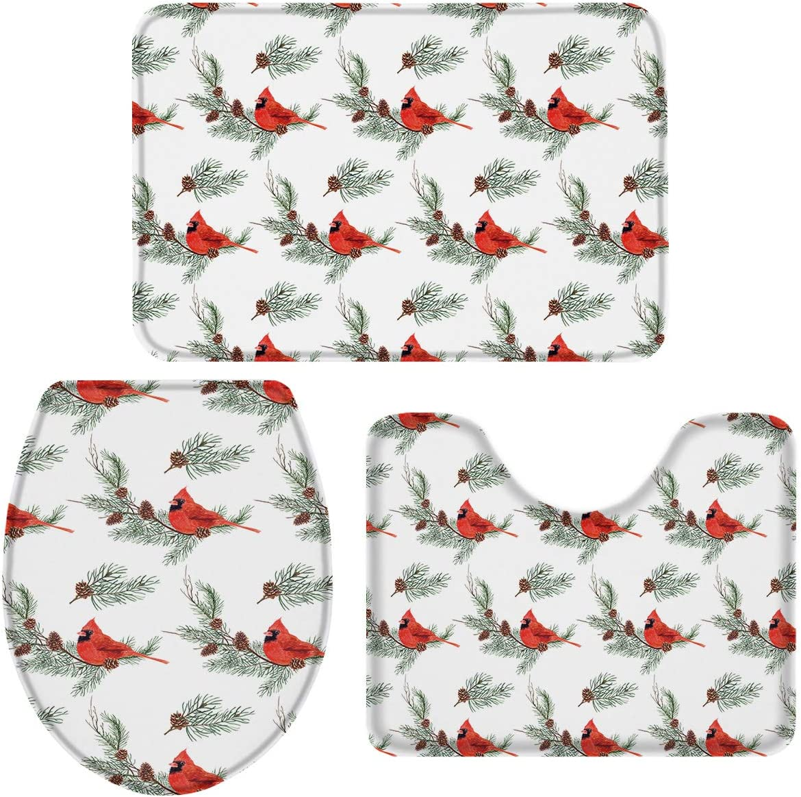 3-Piece Bath Rug and Mat Sets Cones 完全送料無料 Le Cardinal 未使用品 Birds Pine with