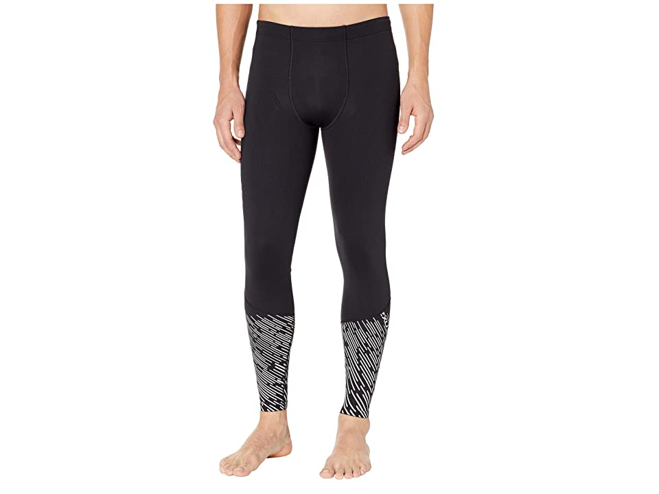 Image of 2XU MCS Run Thermal Compression Tights (Black/Silver Lightbeams) Men's Workout