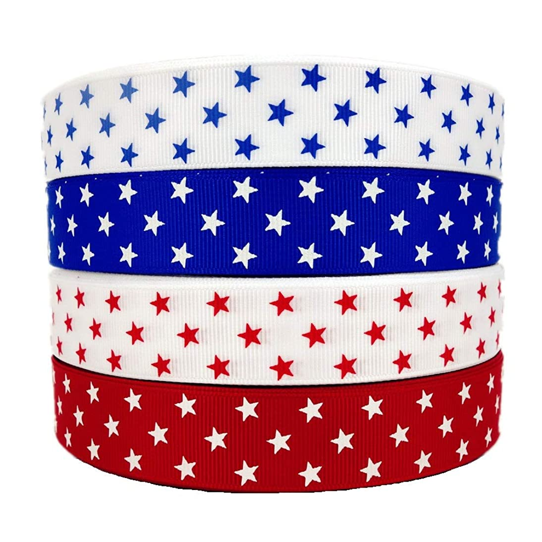 20 Yards (4 X 5yd) 7/8 Inch Grosgrain Star Ribbon 4Th of July Patriotic