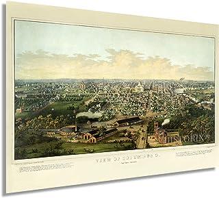 HISTORIX Vintage 1867 Columbus Ohio Map Poster - 24x36 Inch Vintage Map of Columbus Ohio Wall Art - Old Columbus Map - His...