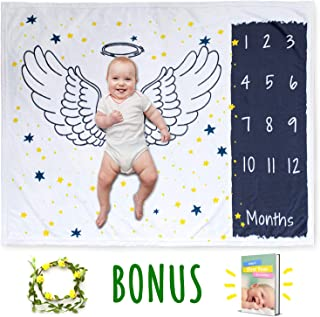 Baby Monthly Milestone Blanket for Girl & Boy | Personalized Extra Soft Fleece for Newborn, 1 to 12 Months | Infant Shower Gift Props | Month Organic Growth Photography with Free Floral Frame & E-Book