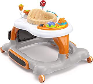 Storkcraft 4-in-1 Activity Walker and Rocker with Jumping Board and Feeding Tray, Interactive Walker with Toy Tray and Jumping Board for Toddlers and Infants- Orange