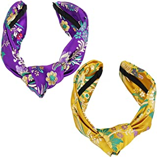 Samtree Women 2 Pack Wide Embroidered Floral Headband Satin Knot Turban Hair Accessories(Purple+Yellow)