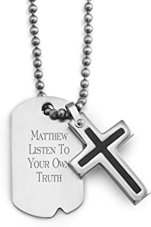 Things Remembered Personalized Boy's Black Cross Dog Tag with Engraving Included